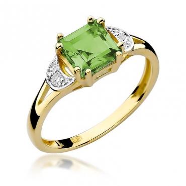 Złoty pierścionek z diamentem EY-40B oliwin