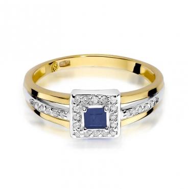 Złoty pierścionek z diamentem EY-271 szafir