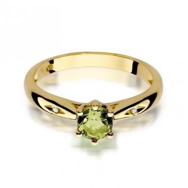 Złoty pierścionek z diamentem EY-74 oliwin