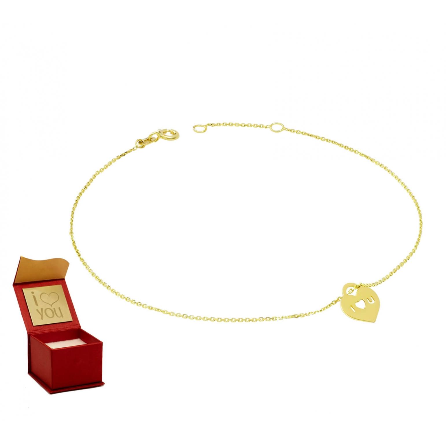 Złota bransoletka na stopę LOVE 3.2425b3