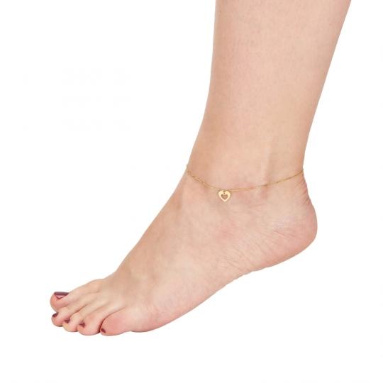 Złota bransoletka na stopę
