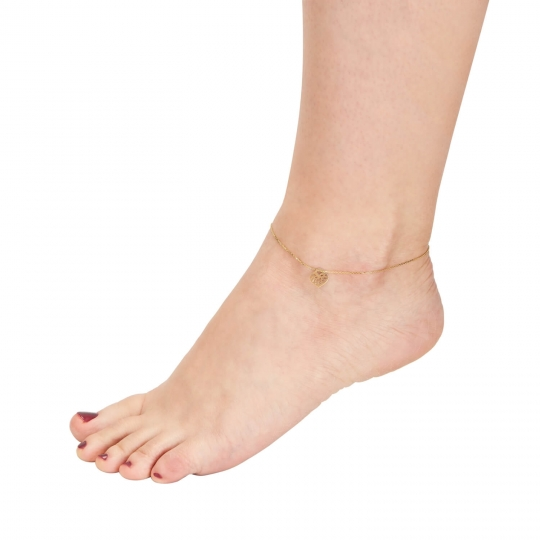 Złota bransoletka na stopę Serce