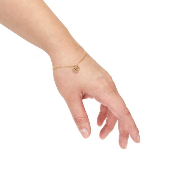 Złota bransoletka na dłoń ażurowe serce próba 585