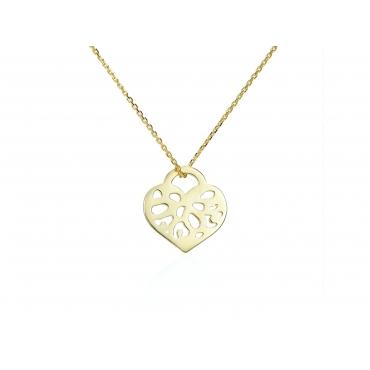 Złota celebrytka Serce Ażur C.314