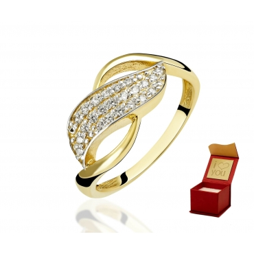 Złoty pierścionek z kamieniami FINEZJA