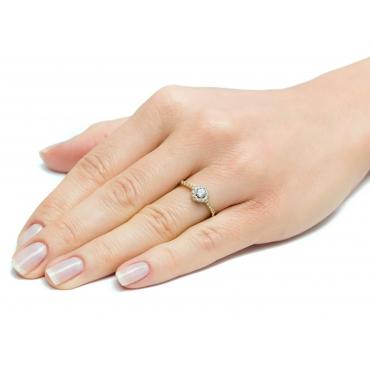 Złoty pierścionek z okrągły kamień Cyrkonie 3.1576