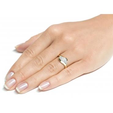 Złoty pierścionek z cyrkoniami Fala
