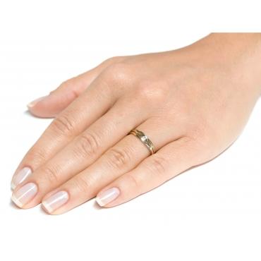 Złoty pierścionek Cyrkonia PRZEPLATANY wzór