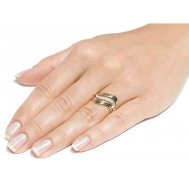 Złoty pierścionek Cyrkonie Fala