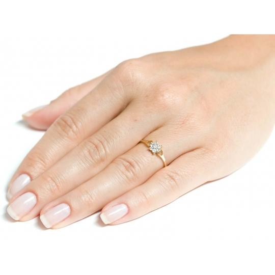 Złoty pierścionek piękny Kwiat