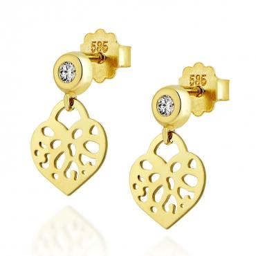 Złote kolczyki orientalne Serce próba 585