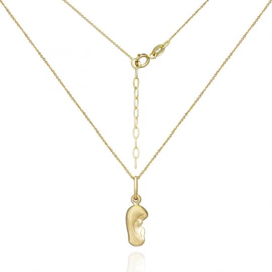 Delikatny złoty komplet łańcuszek z medalikiem Matki Boskiej