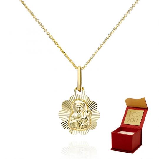 Delikatny łańcuszek z medalikiem Matki Boskiej w Aureoli