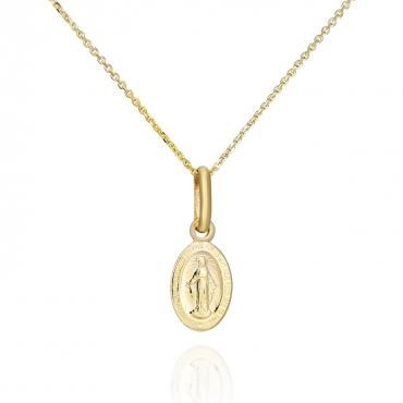 Złoty komplet łańcuszek z Medalikiem Matką Boską prezent na chrzest komunię