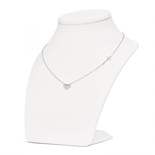 Srebrny naszyjnik typu Sakralnego krzyżyk i serce