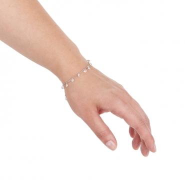 Srebrna bransoletka z białymi kamieniami