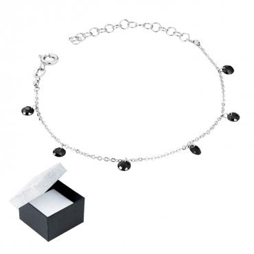 Srebrna bransoletka z czarnymi kamieniami