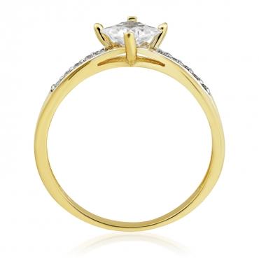 Złoty pierścionek z białymi Cyrkoniami Zaręczynowy