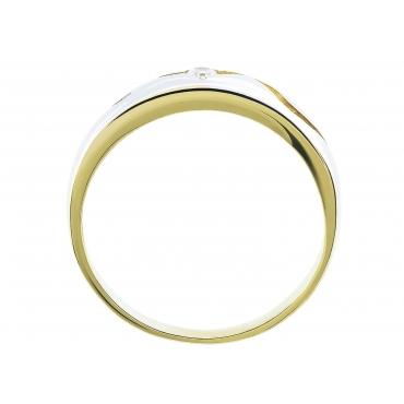 Nacinany Złoty pierścionek z falą Obrączka 3.1302