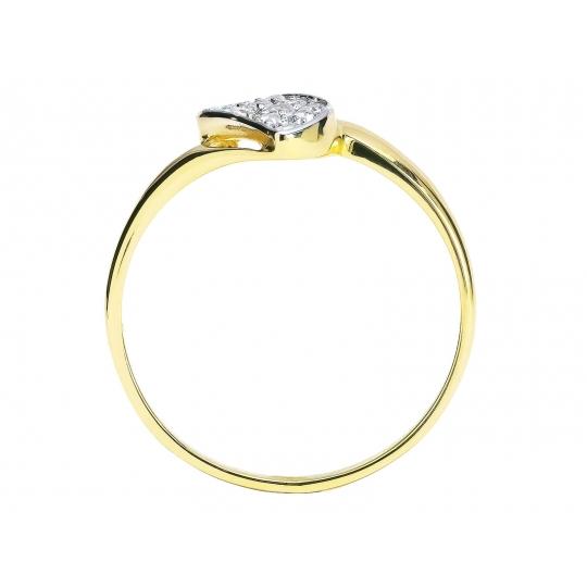 Złoty pierścionek z cyrkoniami delikatna Fala