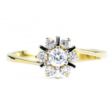 Złoty pierścionek z cyrkoniami wiosenny Kwiatek