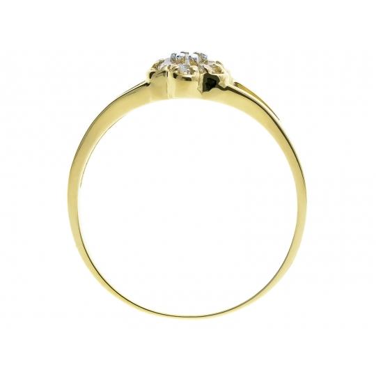 Złoty pierścionek z cyrkoniami Kwiatek