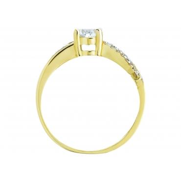 Złoty pierścionek Cyrkonie Przeplatany wzór 3.1553
