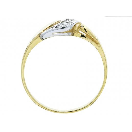 Złoty pierścionek Cyrkonie wzór PIĘKNA FALA