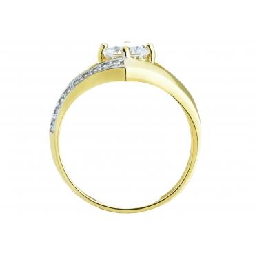 Złoty pierścionek Cyrkonie Nowoczesny wzór 3.1550