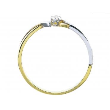 Delikatny złoty pierścionek z Cyrkonią 3.1538