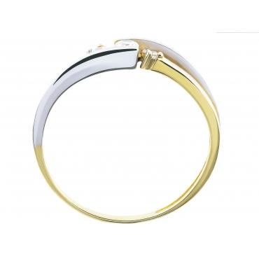 Delikatny złoty pierścionek Cyrkonie 3.1477