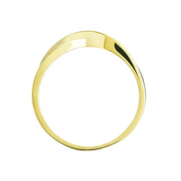 Przeplatany złoty pierścionek z Cyrkoniami