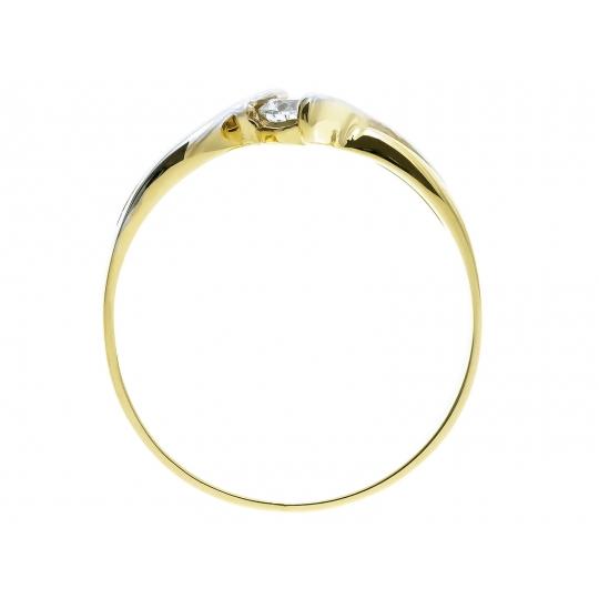NOWOCZESNY WZÓR Złoty pierścionek z centralną Cyrkonią