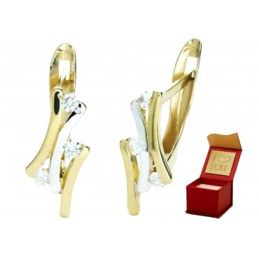 Złote szykowne kolczyki cyrkonie