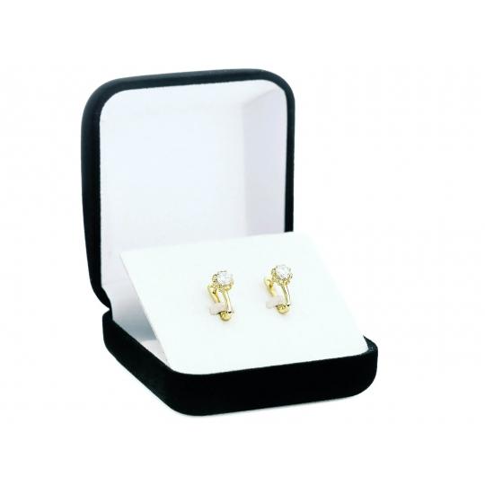 Złote kolczyki zdobione Cyrkoniami kwiatek