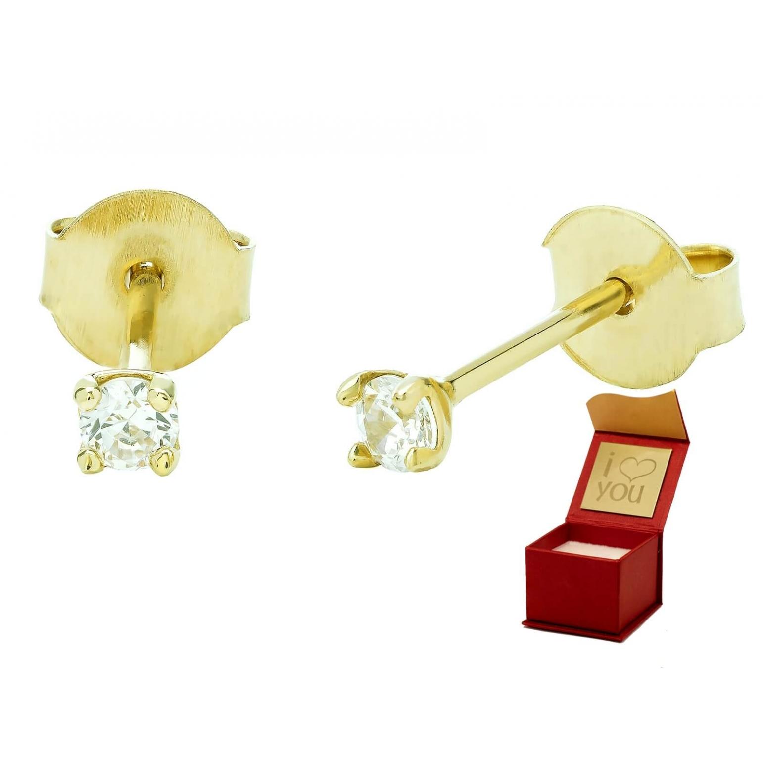 Delikatne złote kolczyki z Cyrkonią PREZENT 3.2347