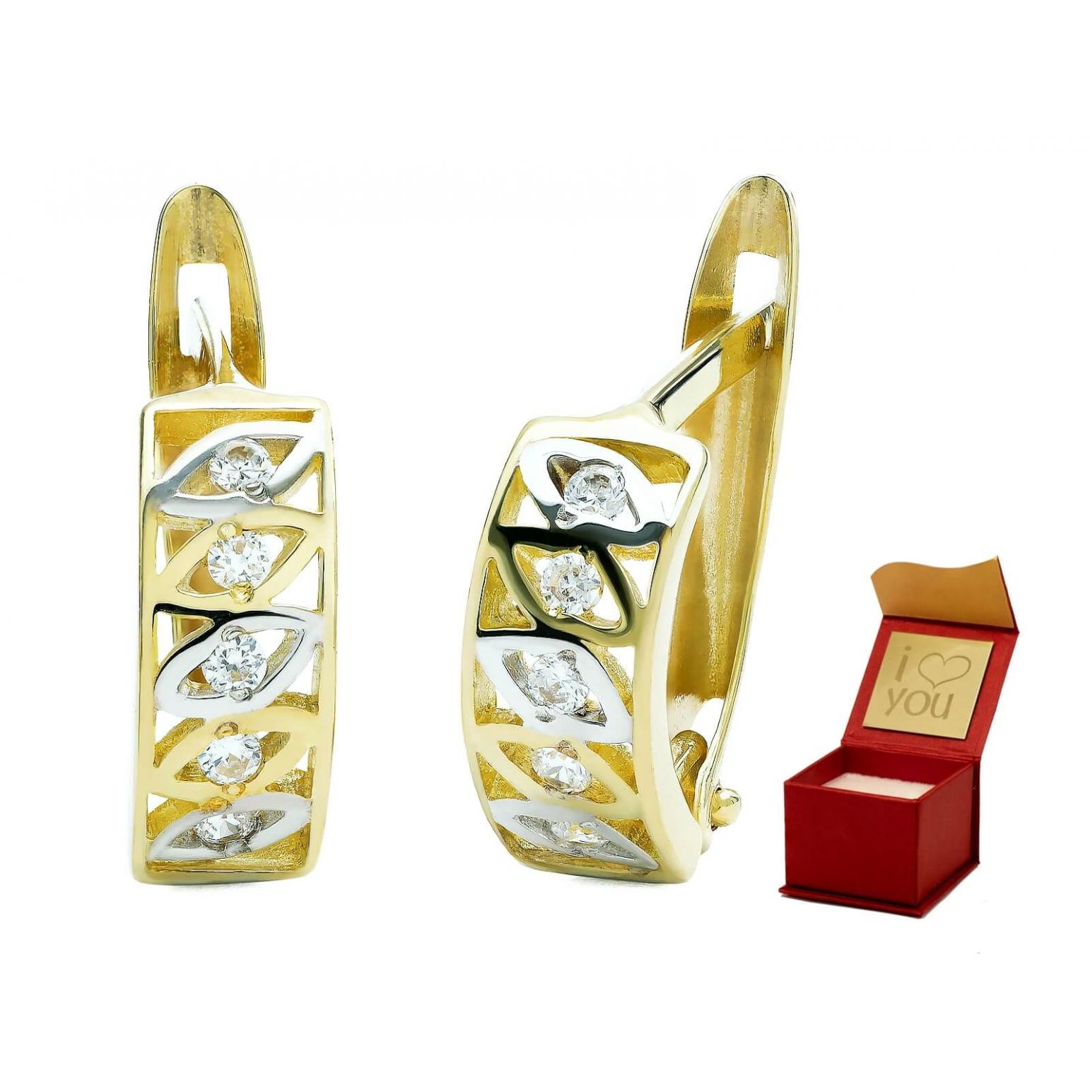 AŻUROWY WZÓR Modne złote kolczyki PREZENT 3.2276