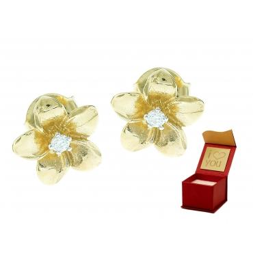 Złote kolczyki z Cyrkonią KWIATKI