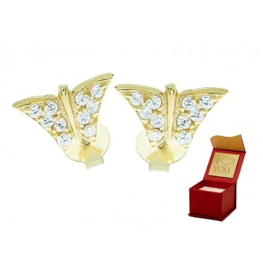 Złote kolczyki na prezent Sztyft MOTYLKI