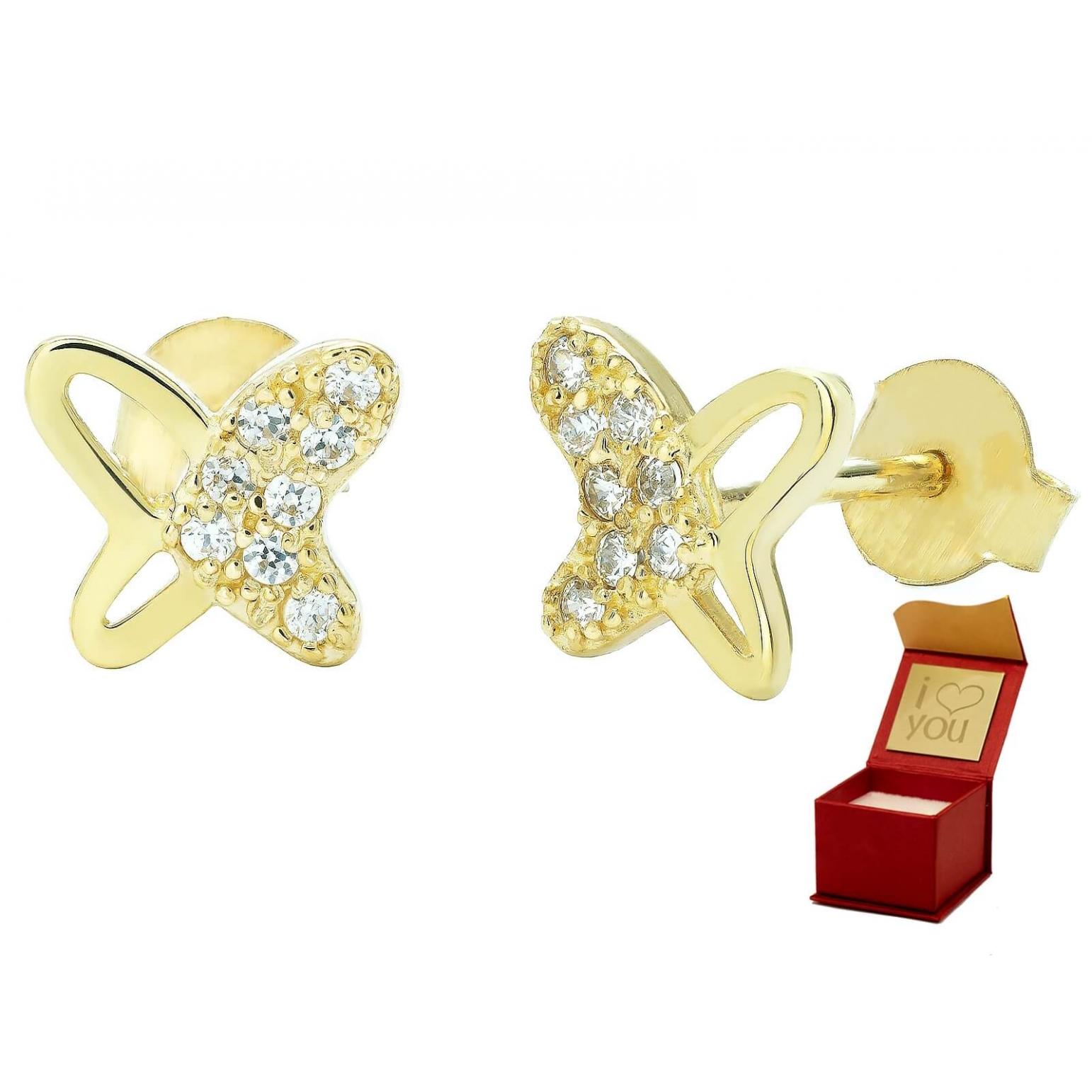 Złote kolczyki z cyrkoniami MOTYLKI 3.2332 PREZENT