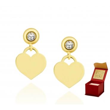 Złote kolczyki pełne Serce z cyrkonią 2,5mm próba 585
