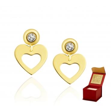 Złote kolczyki Serce z cyrkonią 2,5mm