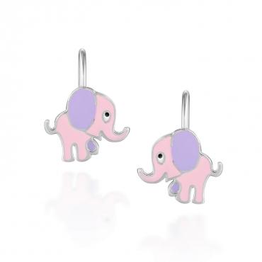 Srebrne kolczyki dziecięce słoniki