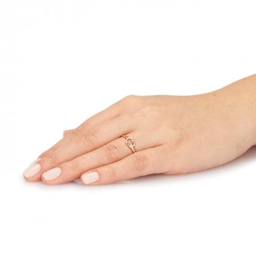 Złoty pierścionek podwójne SERCE
