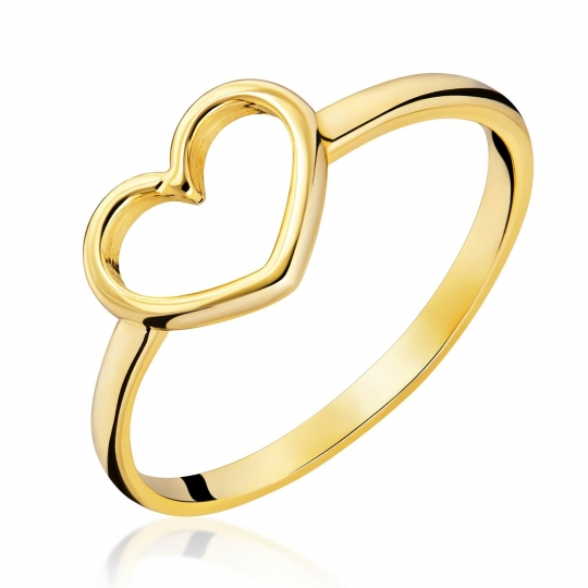 Złoty pierścionek SERCE