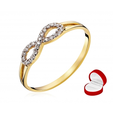Złoty pierścionek z kamieniami Infinity