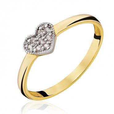 Złoty Pierścionek Serce z cyrkonii