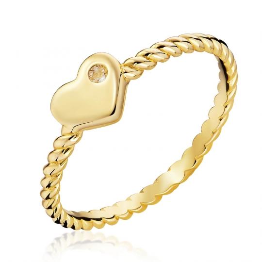 Złoty Pierścionek pełne Serce