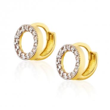 Złote kolczyki z kamieniami Kółka