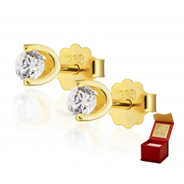 Pełne blasku złote kolczyki z cyrkonią